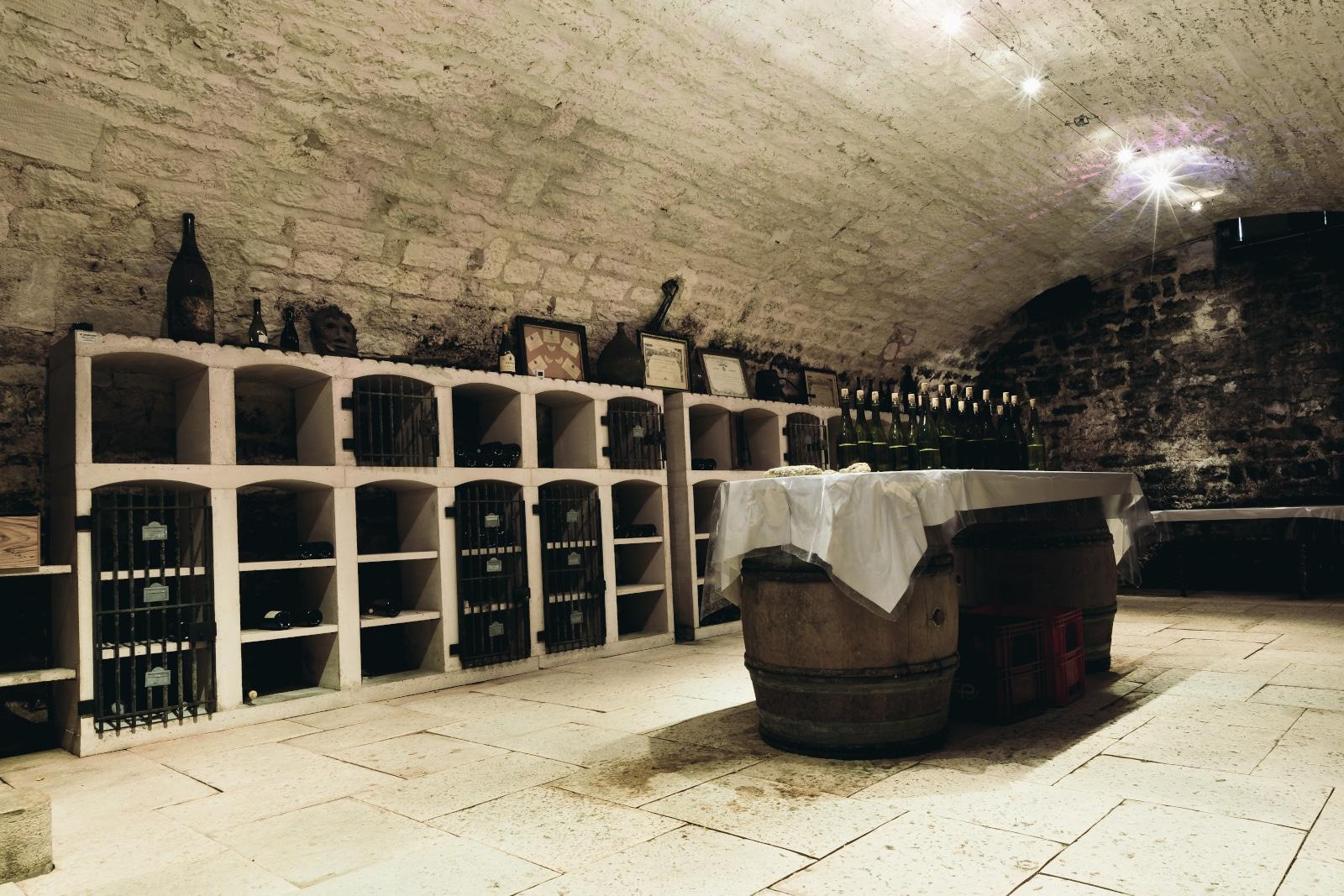 Rustic Wine Cellar in Basement